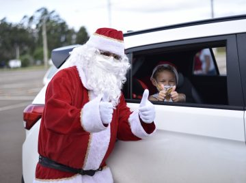 The drive-through for Christmas gifts delivery was highlighted by joy